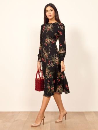 REFORMATION Josephine Black / Floral Printed Dress