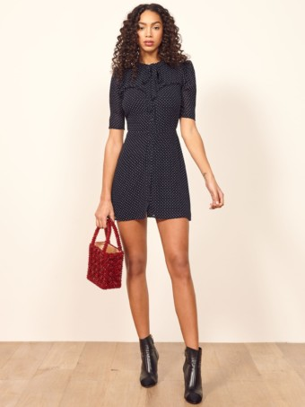 REFORMATION Kinsly Navy Dress