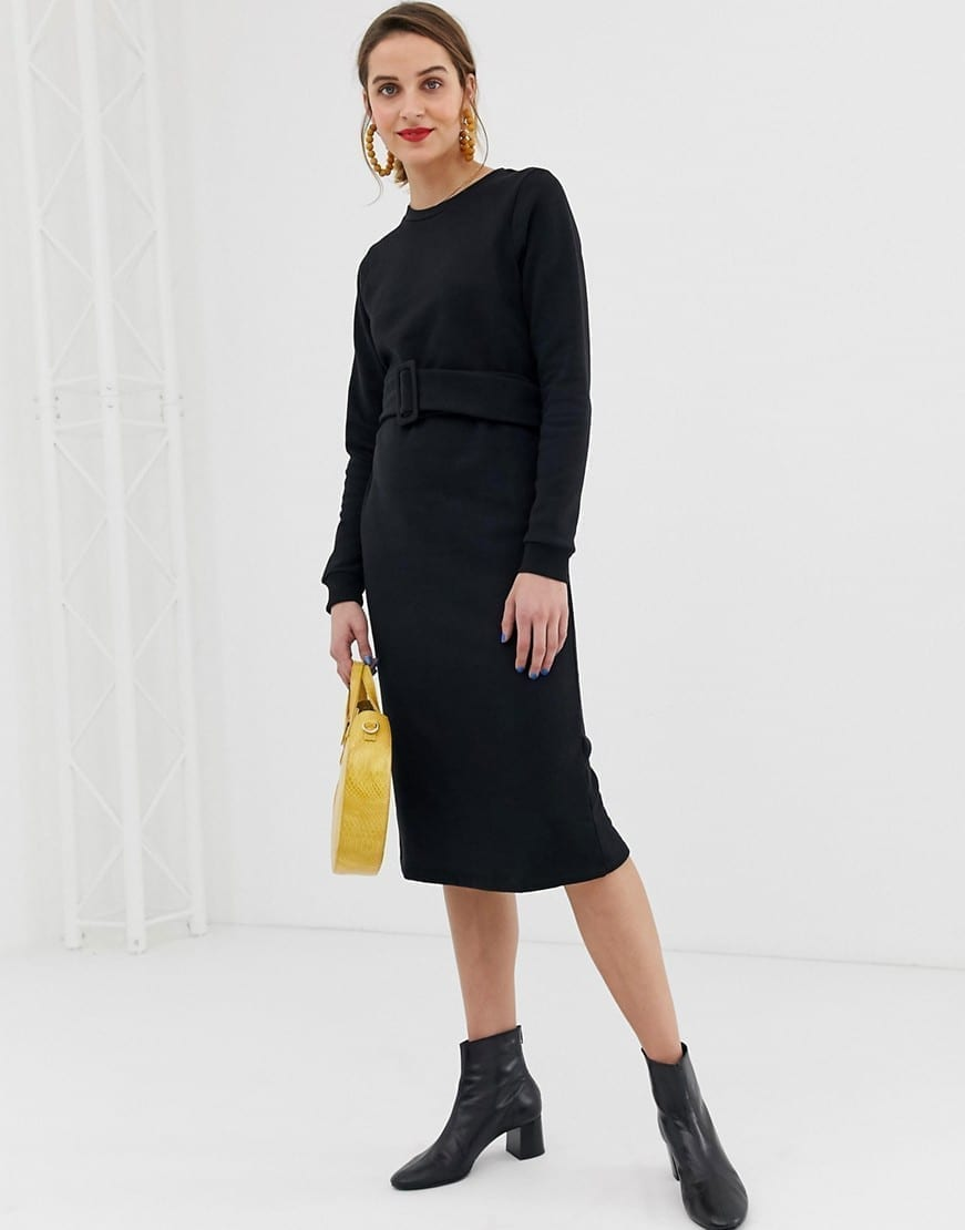 RIVER ISLAND Belt Sweat Black Dress