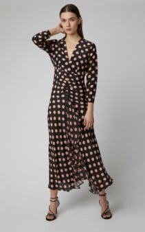 RIXO Rose Polk-Dot Silk-Chiffon Midi Black Dress