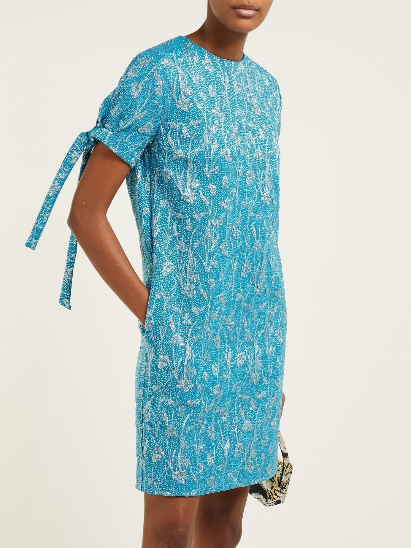ROCHAS Floral-brocade Tie-cuff Mini Turquoise Dress