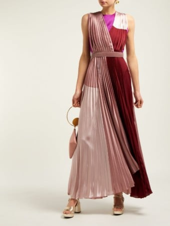 ROKSANDA Kimora Pleated Satin Pink / Burgundy Gown