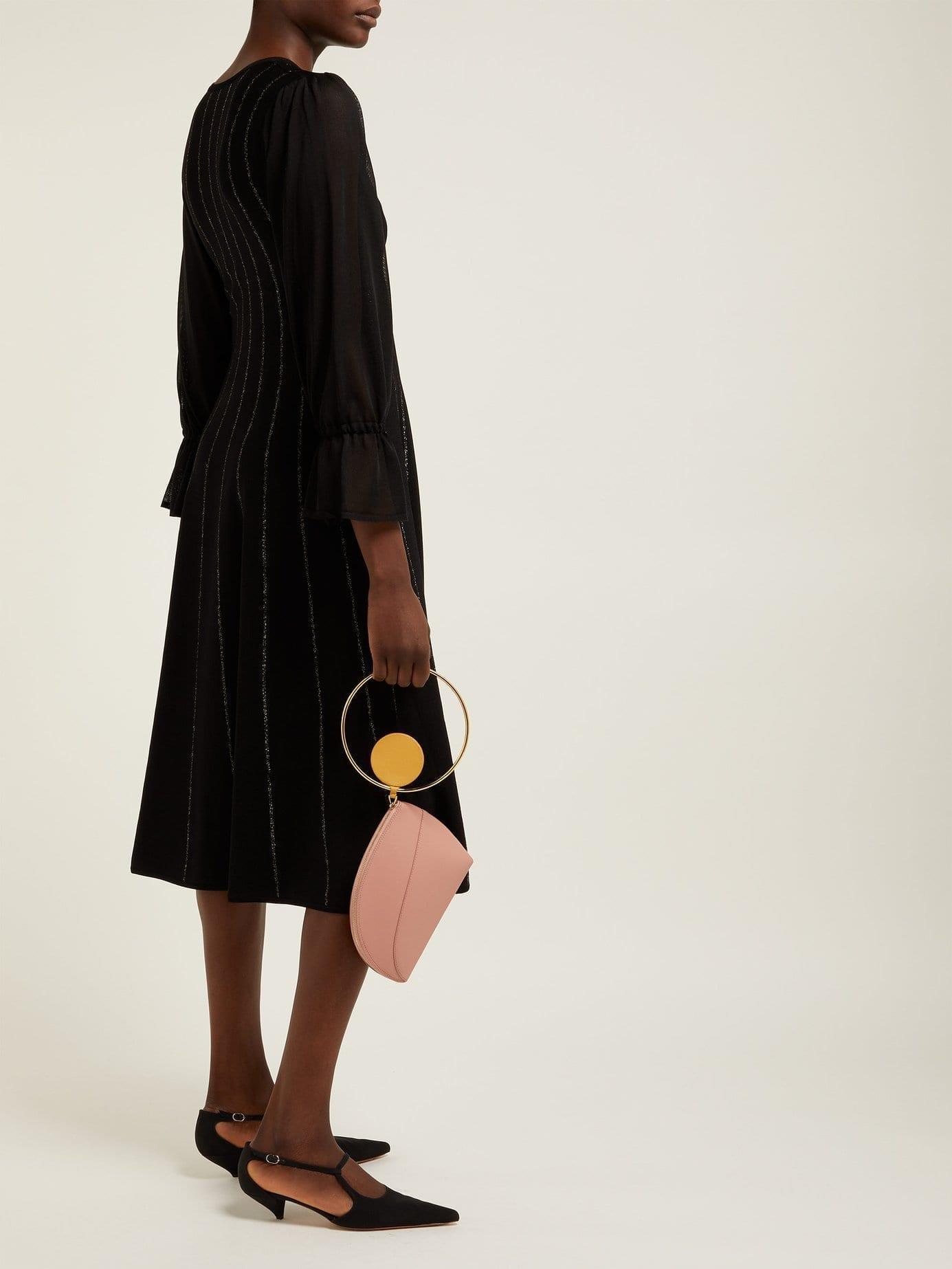 ROKSANDA Tovi Striped Knitted Black Dress