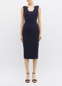 ROLAND MOURET 'coleby' Panelled Crepe Navy Dress