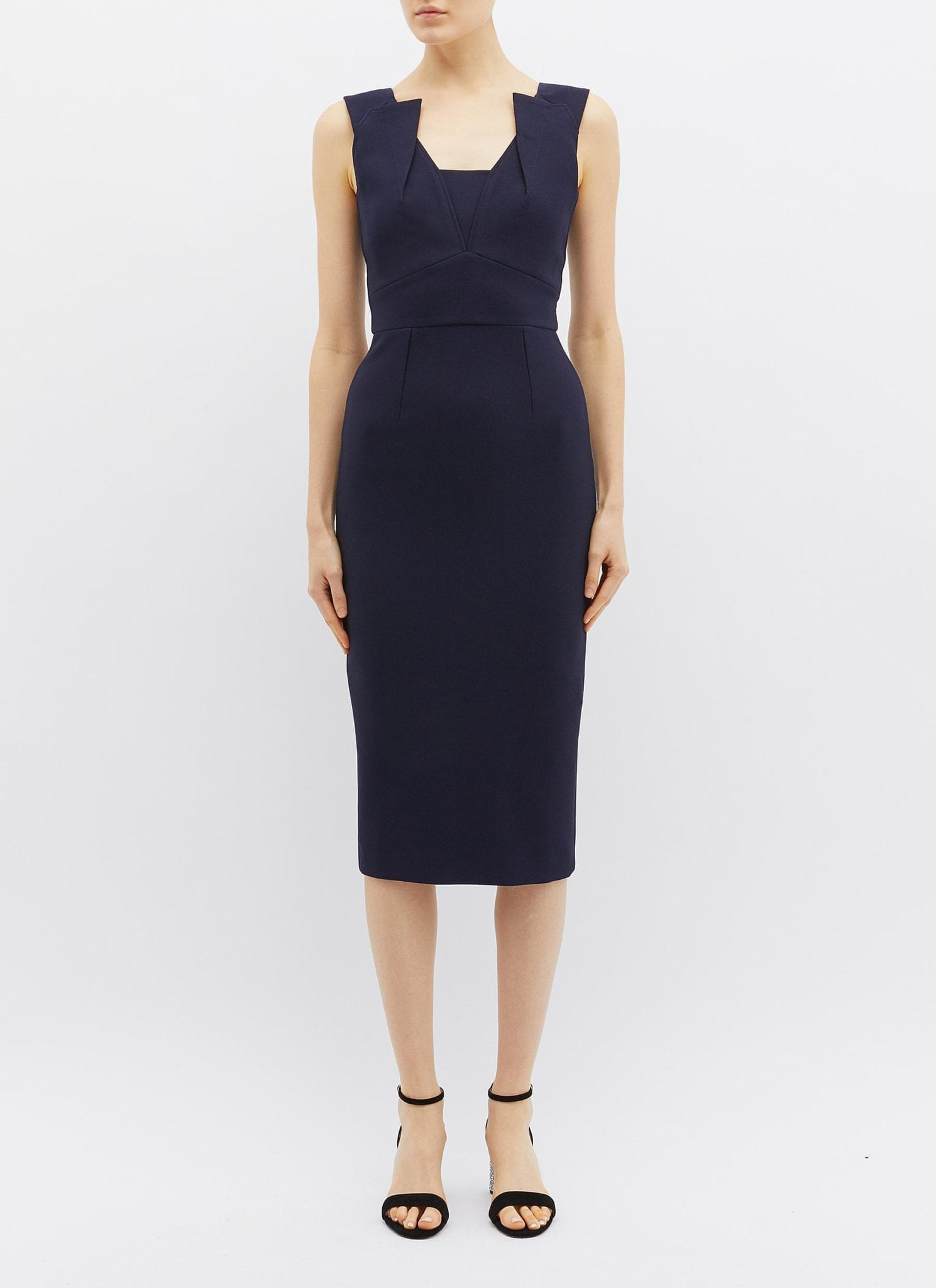 ROLAND MOURET 'coleby' Panelled Crepe Navy Dress
