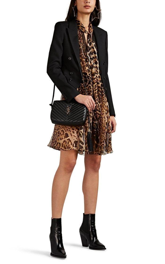 SAINT LAURENT Leopard-Print Chiffon Brown Dress