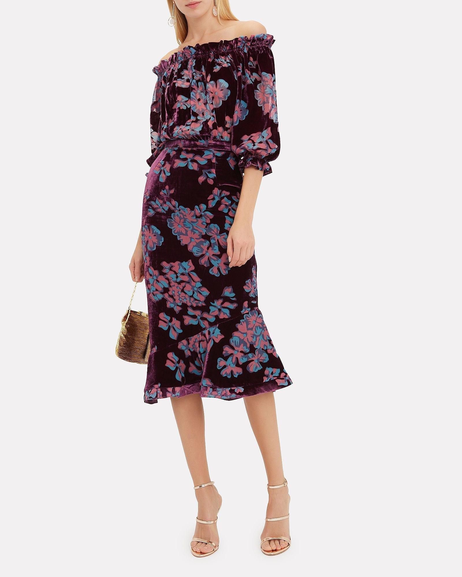 SALONI Grace Off Shoulder Dark Purple / Floral Printed Dress