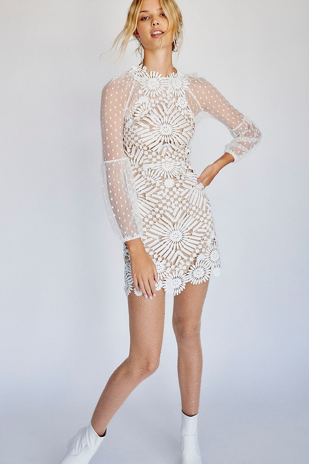 Saylor Presley Mini Crochet Cutout Ivory Dress We Select Dresses