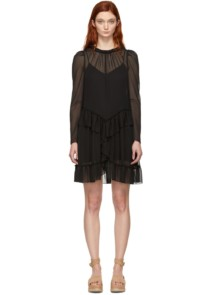 SEE BY CHLOÉ Georgette Ruffle Black Dress