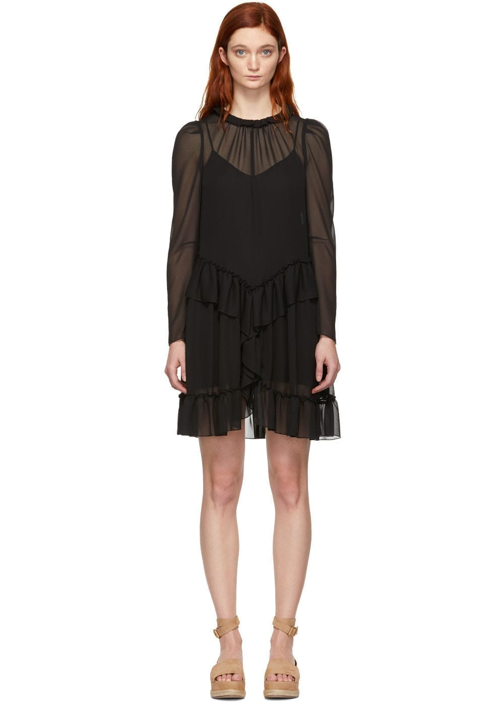 SEE BY CHLOÉ Georgette Ruffle Black Dress