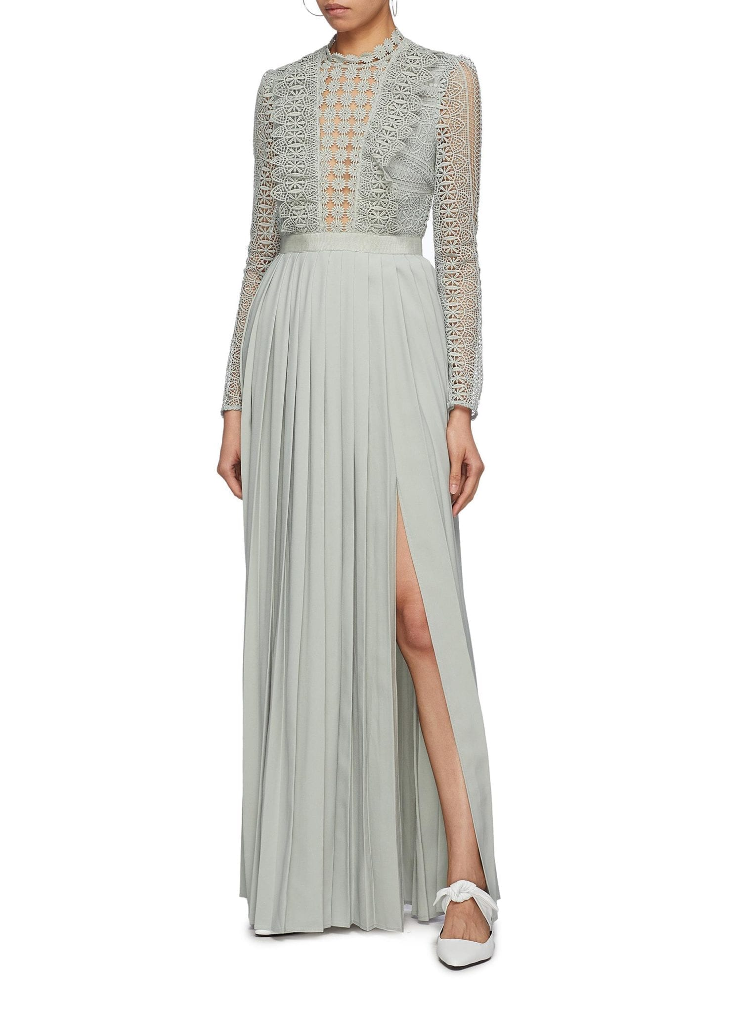 SELF-PORTRAIT Guipure Lace Panel Pleated Ice Blue Dress