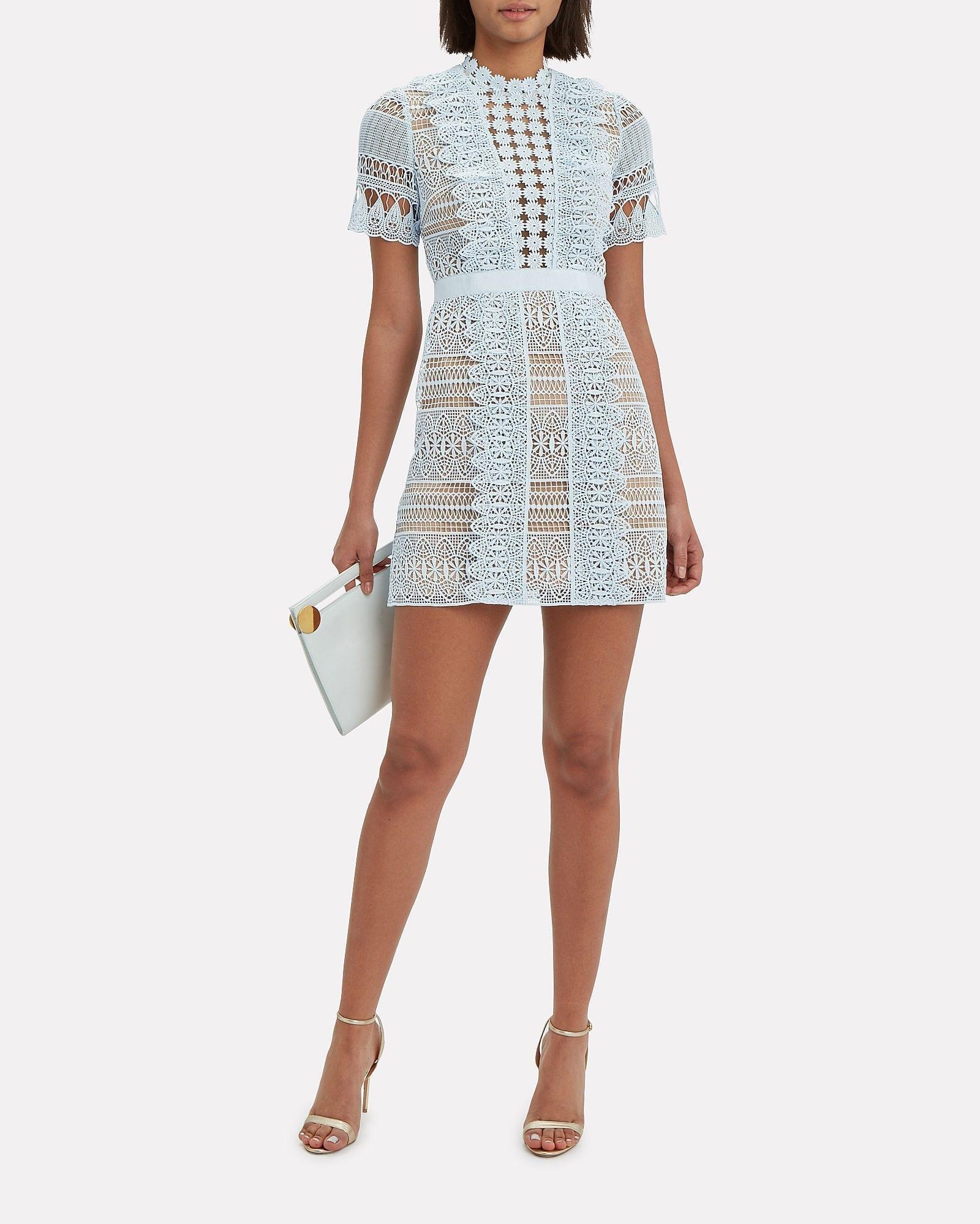 SELF-PORTRAIT Lace Mini Light Blue / Nude Dress
