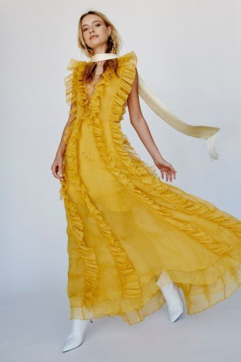 SHONA JOY Ambra Layered Ruffle Maxi Yellow Dress