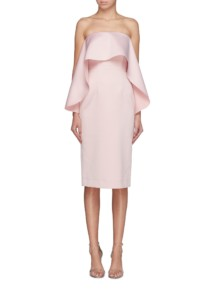 SOLACE LONDON 'Coleta' Ruffle Drape Strapless Pink Dress