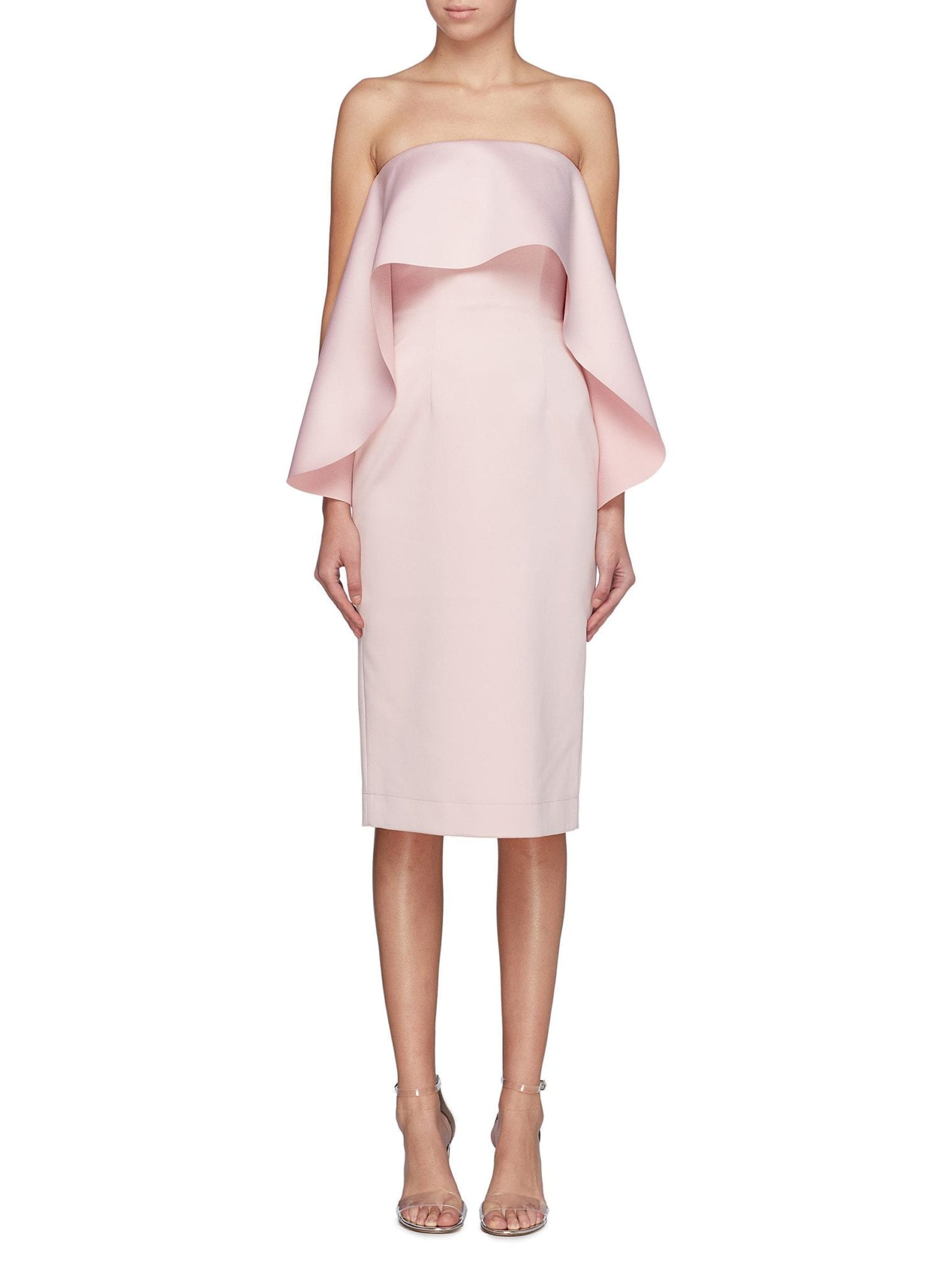 SOLACE LONDON 'Coleta' Ruffle Drape Strapless Pink Dress