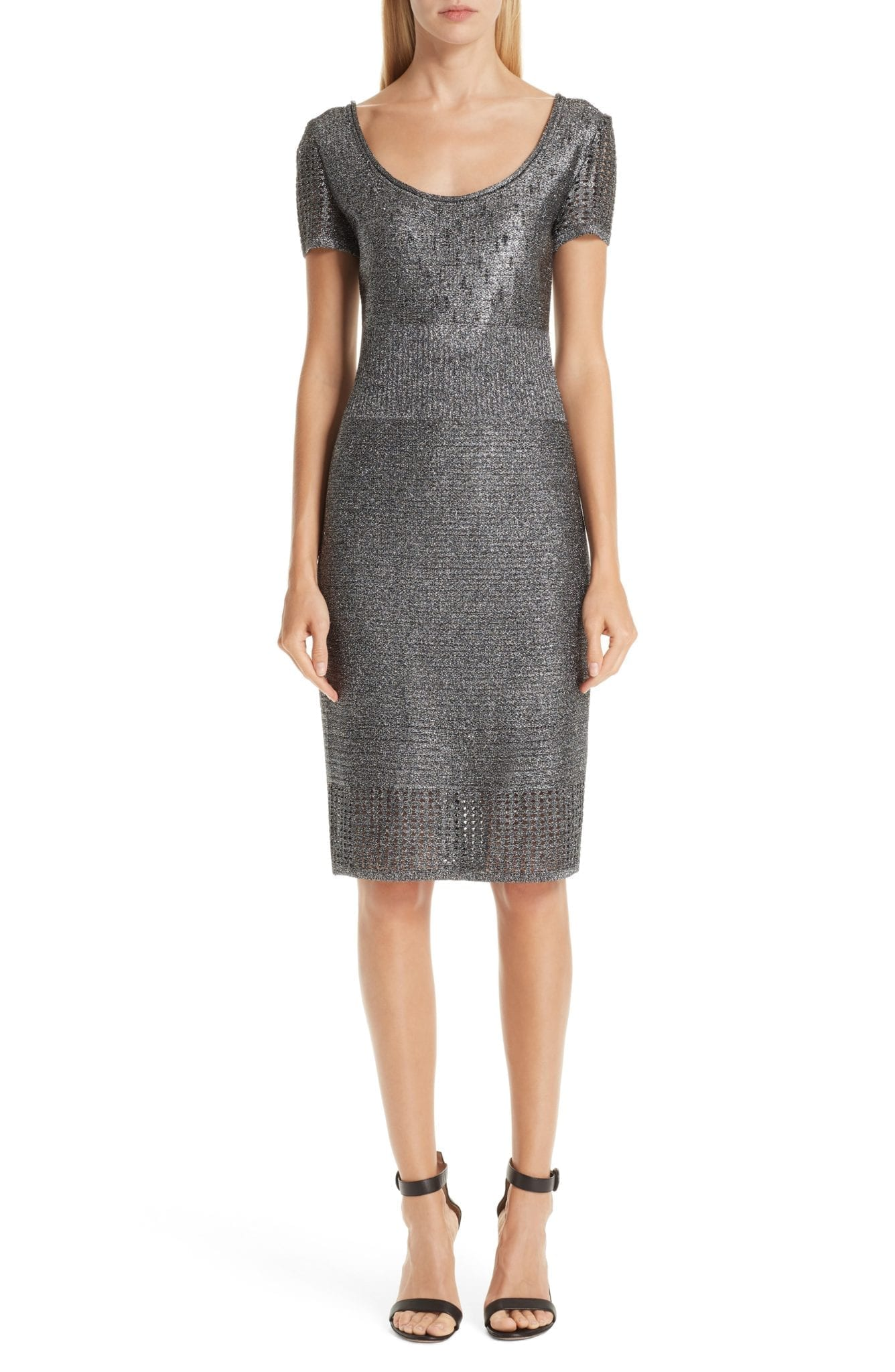 ST. JOHN COLLECTION Metallic Plaited Mixed Knit Gunmetal / Caviar Dress
