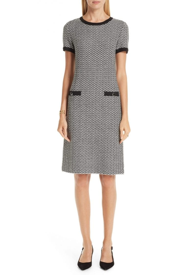 ST. JOHN COLLECTION Mod Herringbone Knit Caviar / Cream Dress