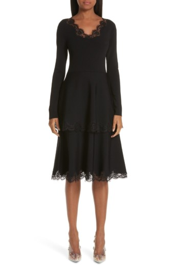 STELLA MCCARTNEY Lace Trim Tiered Sweater Black Dress