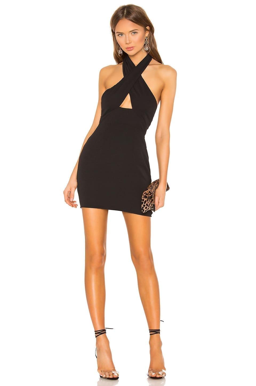 SUPERDOWN Grace Cross Front Black Dress