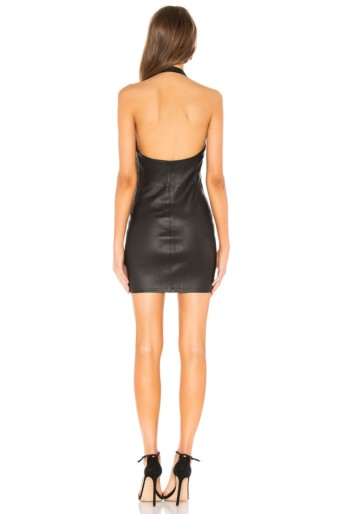 T BY ALEXANDER WANG Stretch Leather Halter Black Dress