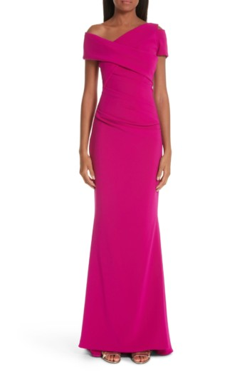 TALBOT RUNHOF Asymmetrical Evening Razzmtazz Dress