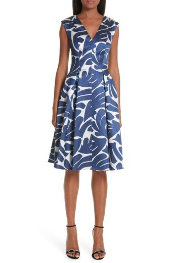 TALBOT RUNHOF Print Cocktail Navy Dress