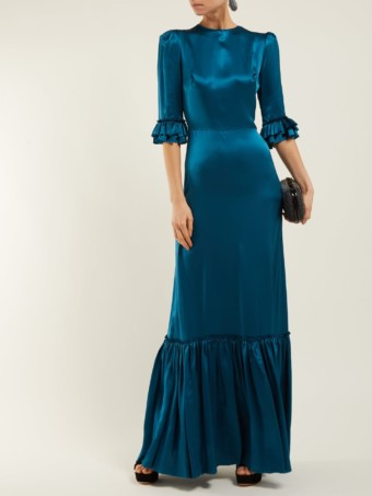 THE VAMPIRE'S WIFE Festival Ruffle-trimmed Silk Teal Blue Dress