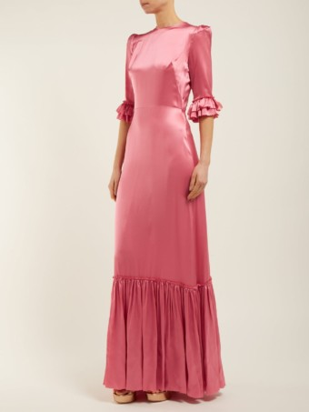 THE VAMPIRE'S WIFE Festival Ruffled Silk-satin Maxi Pink Dress