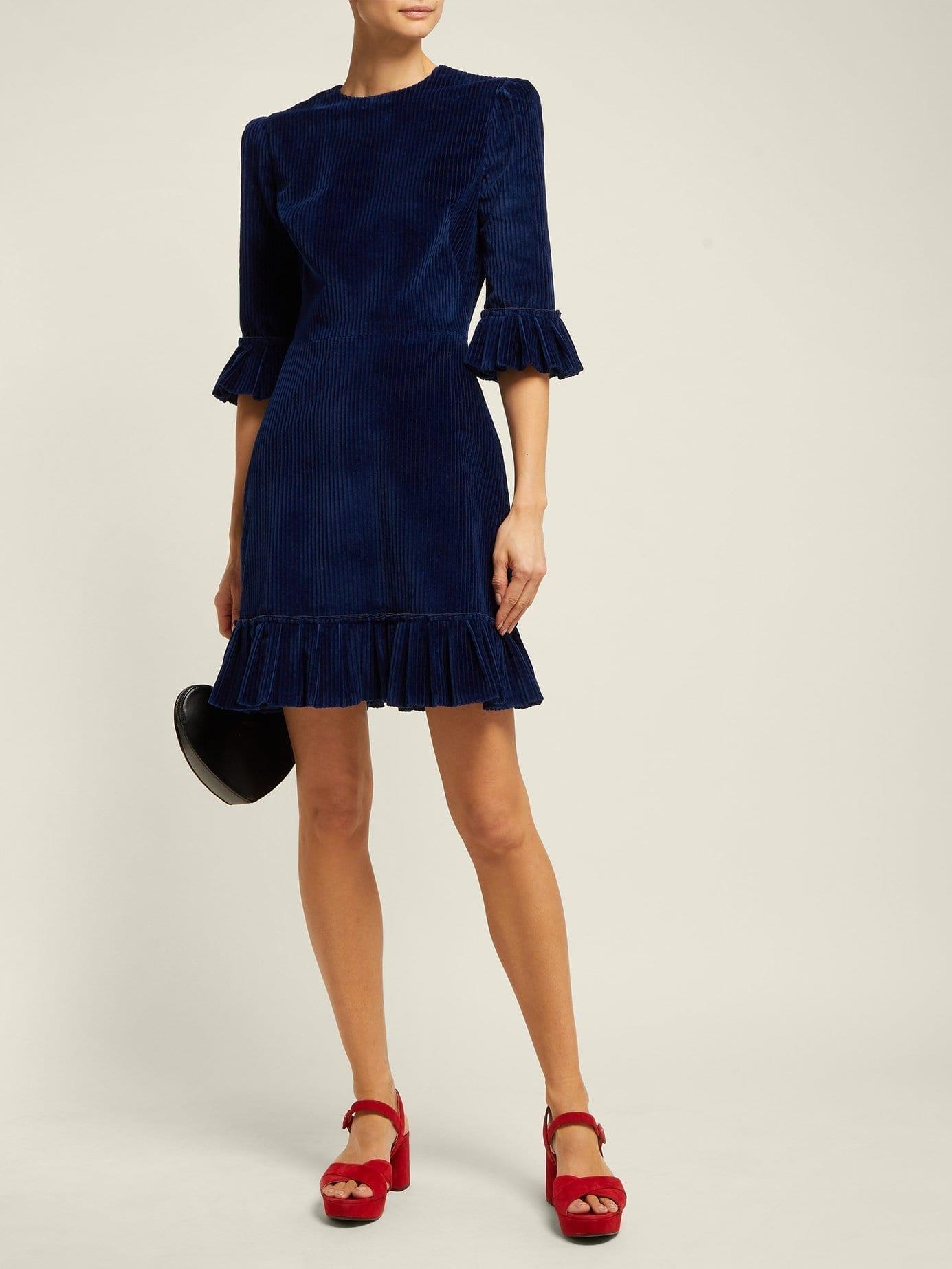 THE VAMPIRE'S WIFE Mini Festival Ruffled Corduroy Navy Dress