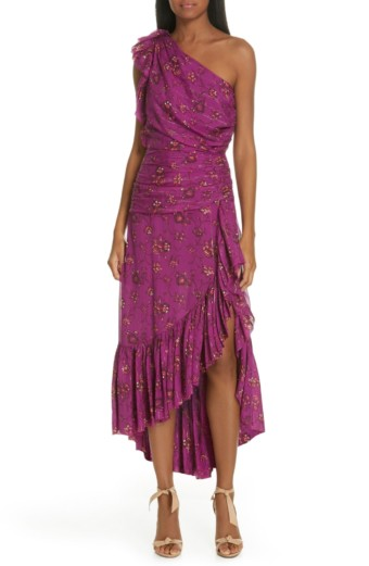 ULLA JOHNSON Belline One-Shoulder Silk Blend Magenta / Floral Printed Dress