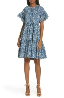 61437359369 ULLA JOHNSON Rosemarie Tiered Mini Indigo   Floral Printed Dress