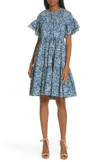 ULLA JOHNSON Rosemarie Tiered Mini Indigo / Floral Printed Dress