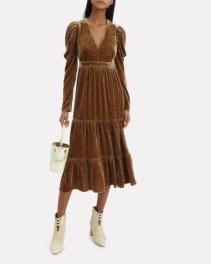 ULLA JOHNSON Shani Velvet Midi Dark Mustard Dress