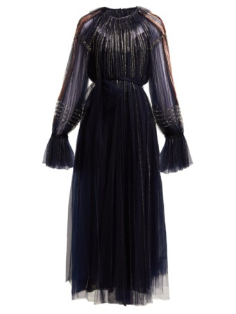 VALENTINO Bead Embroidered Tulle Navy Gown