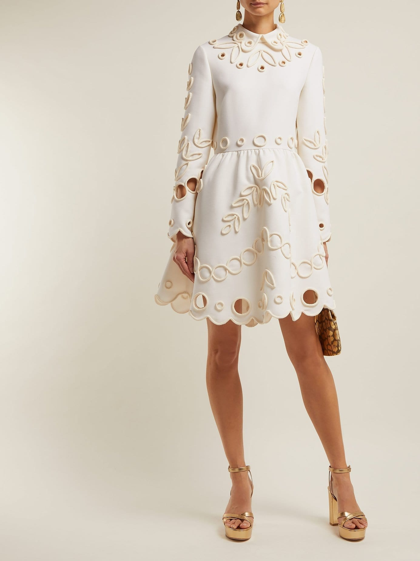 VALENTINO Floral Piping Embellished Crepe Midi Ivory Dress