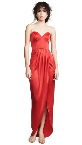 VATANIKA Draped Silk Red Gown
