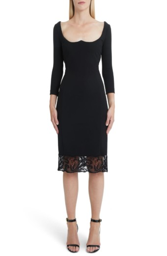 VERSACE FIRST LINE Lace Hem Body-Con Black Dress