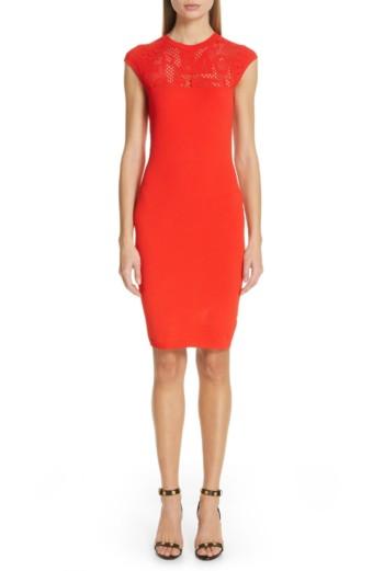 VERSACE FIRST LINE Versace Logo Mesh Panel Body-Con Red Dress