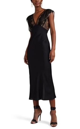 VICTORIA BECKHAM Lace-Detailed Midi Black Dress