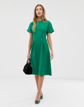 WAREHOUSE Button Detail Midi Green Dress