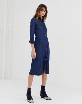 WAREHOUSE Denim Shirt Dark Wash Dress