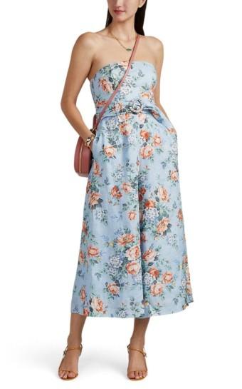 ZIMMERMANN Bowie Floral Linen Strapless Jumpsuit lilac / Floral Printed Dress
