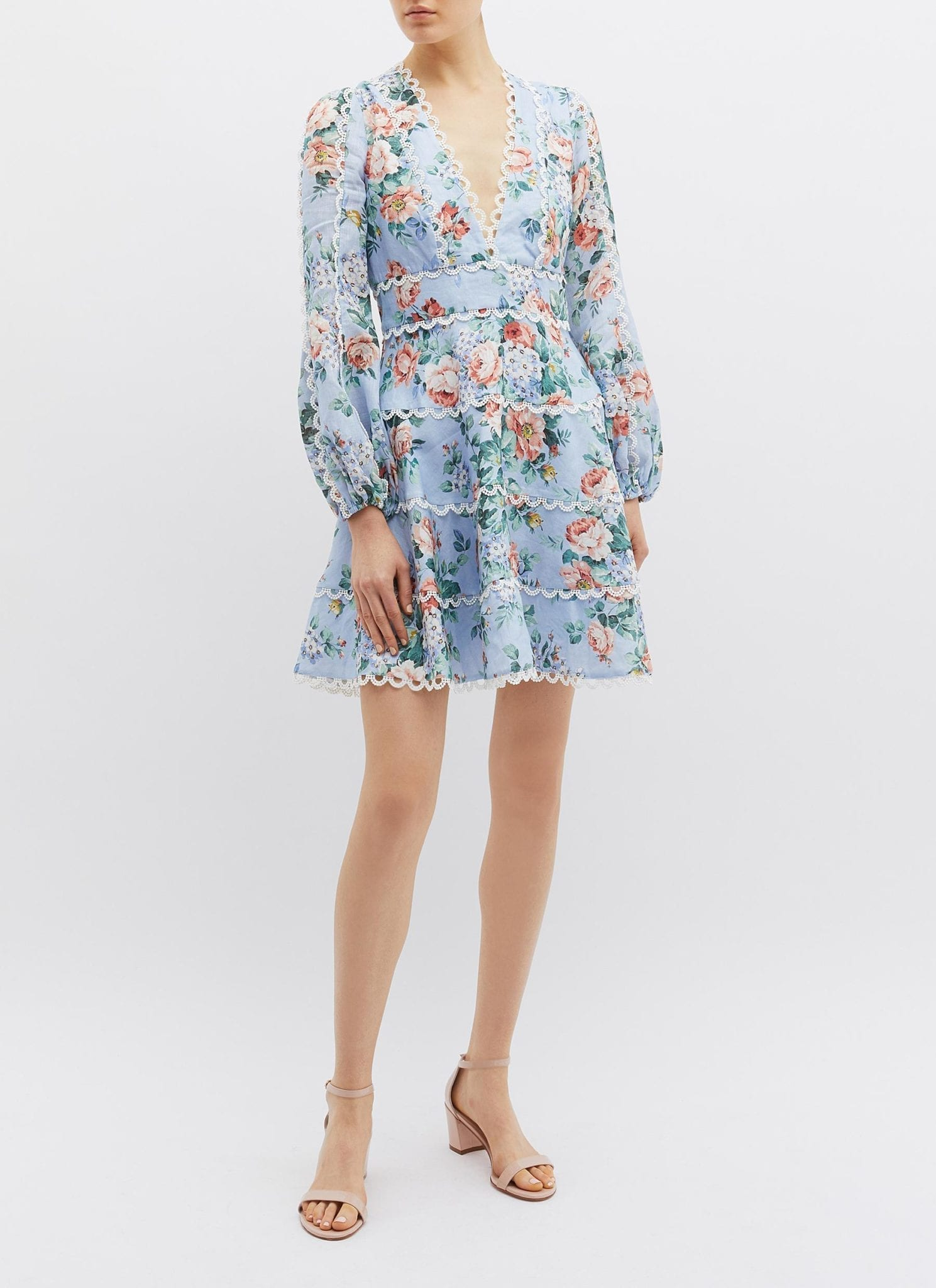 ZIMMERMANN 'Bowie' Scalloped Trim Linen Light Blue / Floral Printed Dress