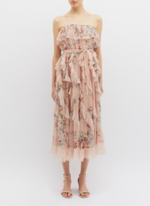 ZIMMERMANN 'Bowie Waterfall' Ruffle Silk Strapless Dusty Pink / Floral Printed Dress