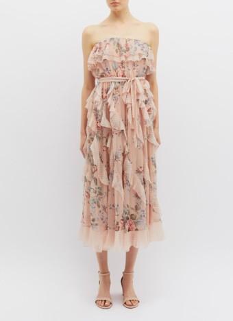 ZIMMERMANN 'Bowie Waterfall' Ruffle Silk Strapless Dusty Pink / Floral Printed Dress
