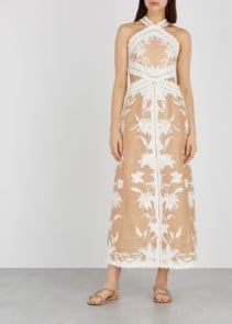 ZIMMERMANN Corsage Appliquéd Linen Blend Nude Dress