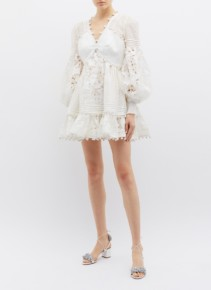 ZIMMERMANN 'Corsage' Blouson Sleeve Guipure Lace Panel Mini White Dress