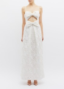 ZIMMERMANN 'Corsage' Cutout Bow Front Guipure Lace Sleeveless White Dress