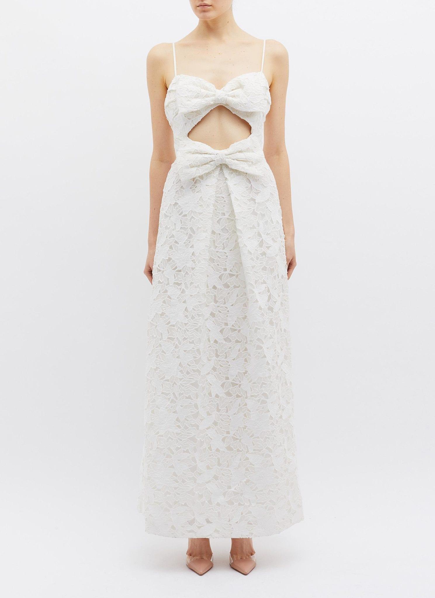ZIMMERMANN 'Corsage' Cutout Bow Front Guipure Lace Sleeveless White Dress