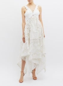 ZIMMERMANN 'Corsage' Guipure Lace Panel Dot Embroidered Handkerchief Midi white Dress